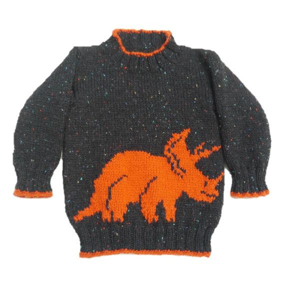 Dinosaur Child's Sweater and Hat Triceratops by iKnitDesigns