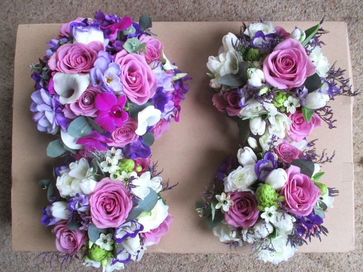 Wedding Flowers Bride Bridesmaids Cadburys Purple Green White