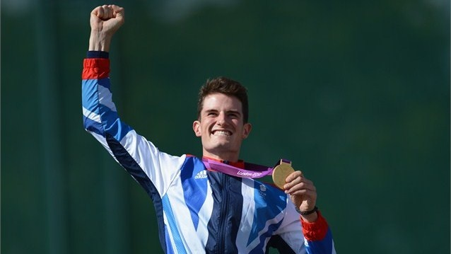Peter Wilson of Great Britain celebrates with his gold medal  Peter Wilson of Great Britain celebrates with his gold medal during the Victory Ceremony following the men's Double Trap Shooting final on Day 6 of the London 2012 Olympic Games at the Royal Artillery Barracks.