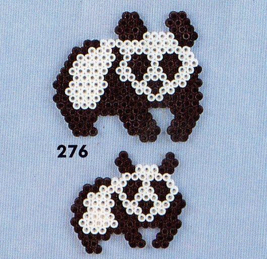 Panda bear hama perler pattern