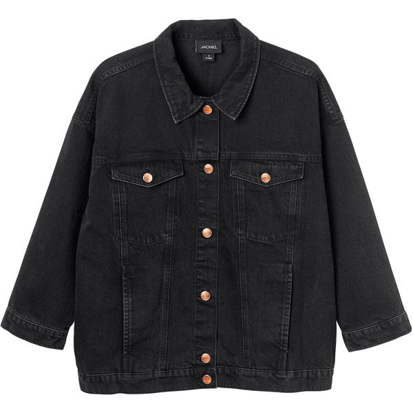 Monki Cathy denim jacket ($71) ❤ liked on Polyvore featuring outerwear, jackets, washed out black, 80s jackets, oversized jacket, oversized jean jacket, pocket jacket and oversized denim jacket