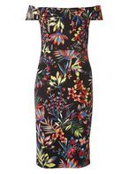 Womens Tropical Print Bardot dress- Multi Colour