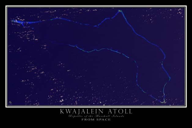 Kwajalein Atoll Marshall Islands Satellite Poster Map
