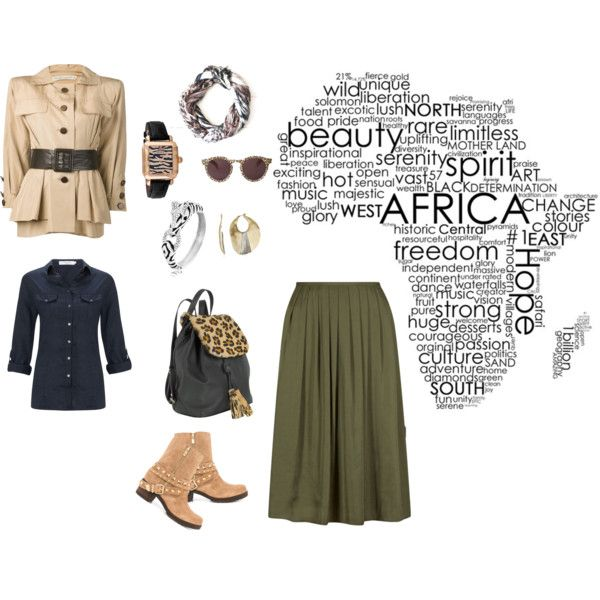 Olive Skirt Safari by edeln on Polyvore featuring, John Lewis, Yves Saint Laurent, BCBGeneration, Fontanelli, Michele, Kenneth Cole, Bling Jewelry and Illesteva
