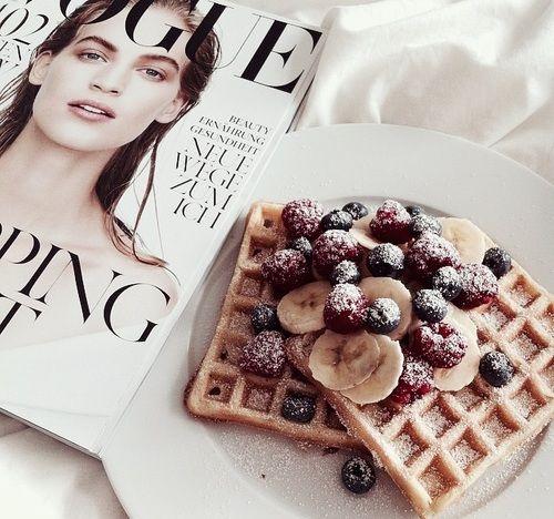 breakfast, vogue, and waffles kép