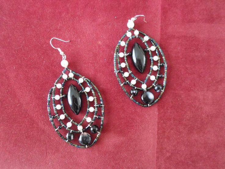 Handmade Ebony and beads Earrings