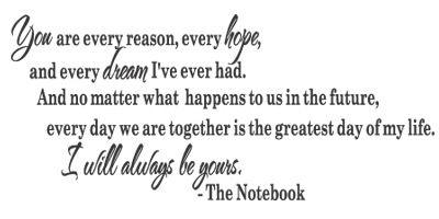 You are every reason every hope and every dream i have ever had-notebook movie quotes