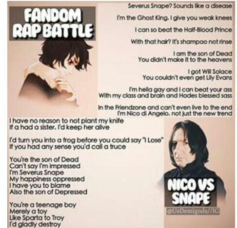 Fandom Rap Battle: Nico vs Snape. Who won? Im inclined to believe its pretty tied