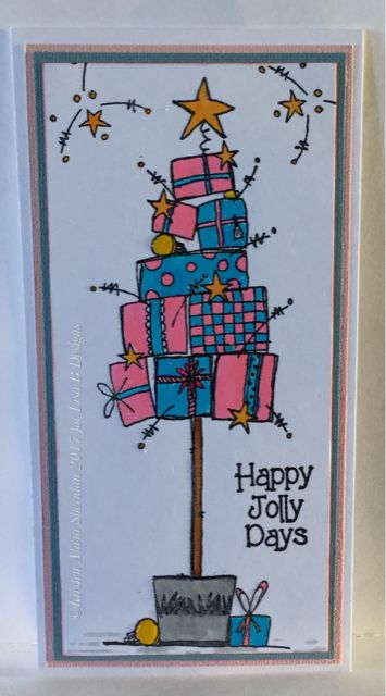 Handmade Christmas card by Kirsten Sheridan. JoFY stamps from PaperArtsy.