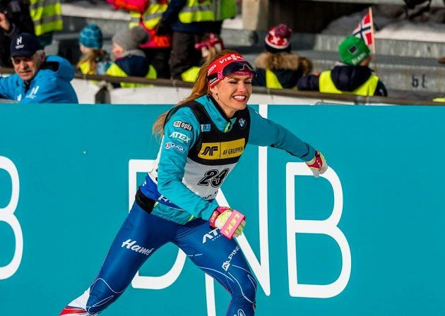 Happy Gabi after sprint in Oslo, because she gets small globe for sprint. Yuchu.