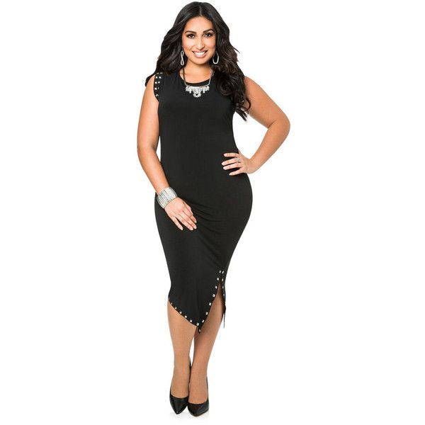 Ashley Stewart Studded Front Slit Dress ($44) via Polyvore featuring dresses, drapey dress, plus size cap sleeve dress, plus size draped dress, crew neck dress and womens plus dresses