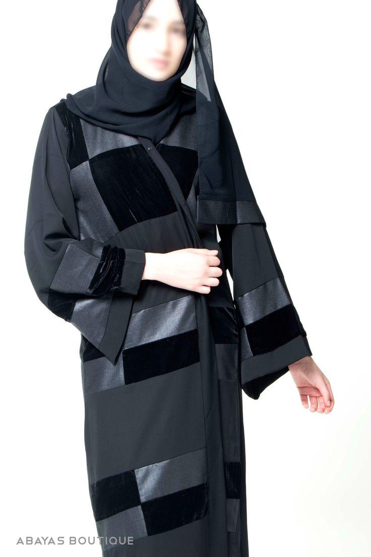 Sleek Chequer Open Style Abaya