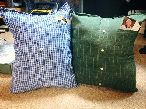 Memory pillows made from Dad's shirts -- pocket holds photograph.