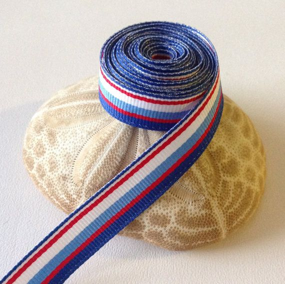 """3 Yards of 5/8"""" Grosgrain Ribbon, Red, White & Blue Striped Nautical Pattern $3.99"""