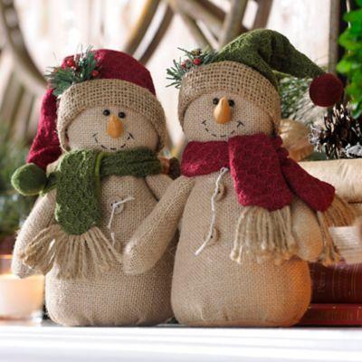 Rustic Burlap Snowmen | Kirklands