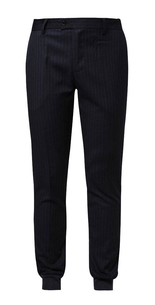 Navy Jogger Pants in Suiting by ZALORA feature stripe details with elasticised and ribbed ends.A bold splash of for your look! Made from polyblend fabric, button and zip fastening, 5 belt loops, front and back pockets, regular fit.  http://www.zocko.com/z/JHh36