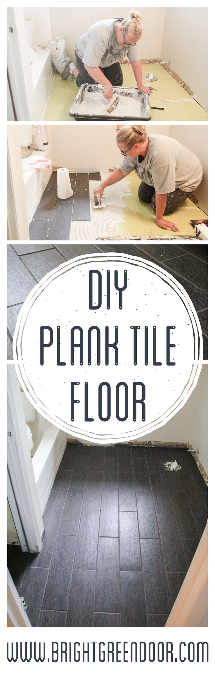 DIY Plank Tile Floor. How to lay Plank Tile. www.BrightGreenDoor.com