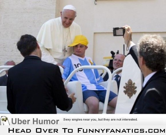 The pope let a young guy with down syndrome take his seat in the pope-mobile. He's a keeper.