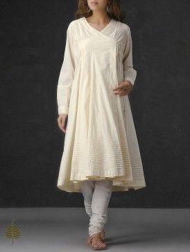 Cream Pleated Cotton Mul Angrakha Kurta by Jaypore