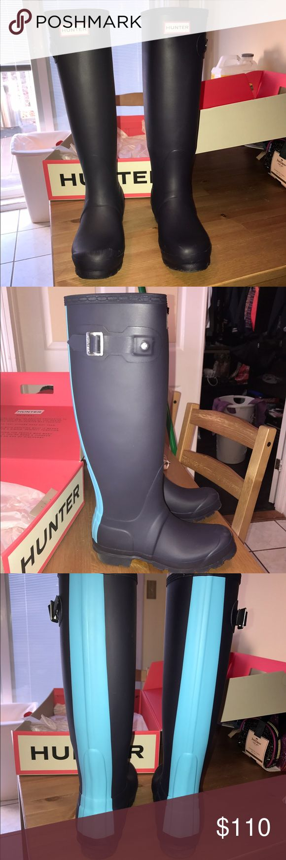 HUNTER BOOTS Recently purchased, great condition only worn once! Navy blue boots with a baby blue strip on the the back of boots! Hunter Boots Shoes Winter & Rain Boots