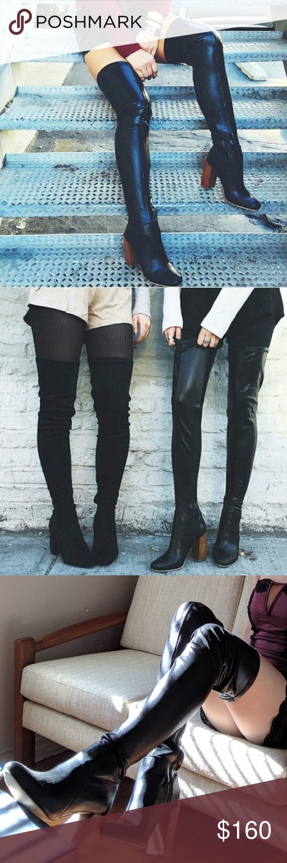 """Jeffrey Campbell Perouze Thigh High Leather Boots Jeffrey Campbell's leather-look witchy rocker boots. The Perouze. Featuring an almond toe, a chunky wooden heel, stretchy faux leather shaft, and an inner zip closure... Only worn twice, these are practically new and in excellent condition. Actual boots are featured in the third photo. Questions? Want more pictures? Feel free to comment.  - Leather insole only - Heel: 4 1/3"""" - Shaft: 24 1/2"""" - Opening Circumference: 16 1/2"""" Jeffrey Campbell…"""