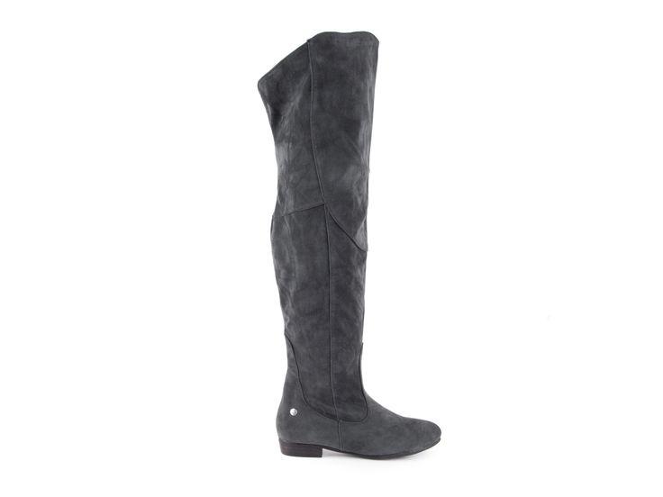 Blink - Semišové kozačky nad kolena na nízkém podpatku 102046-A / šedá