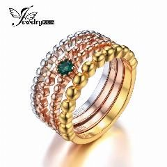 [ 25% OFF ] Jewelrypalace 925 Sterling Silver Created Nano Russian Emerald 3 Tone 4 Rope Band Stackable Ring Set Women Trendy Jewelry 2016