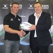 RWC2011 match ball Gilbert International Brand Manager Andy Challis and former All Black Aaron Mauger at the launch of the official RWC 2011 Match Ball.