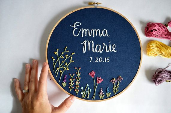 MADE TO ORDER: Please allow 3-4 weeks for your embroidery hoop to be recreated.  The sweetest, fully customizable, floral name embroidery hoop! Details: - 8, 9 or 10 inch hoop  Info you will need to give me when you check out: -Name (Either first and middle, or just first name) -Birth date as you would like it to be shown (9-2-12, Sept 2, 2012, etc) -Thread & Fabric colors: Please see the last two pictures for color options, and let me know your preferences at checkout. If no colors are…