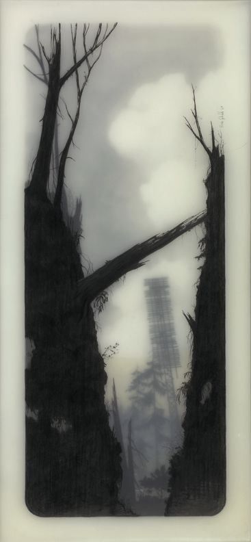 All of Brooks Salzwedel's drawings are hand drawn graphite on Duralar cast in layers of resin. Color in the pieces are made by layers of transparent tape.
