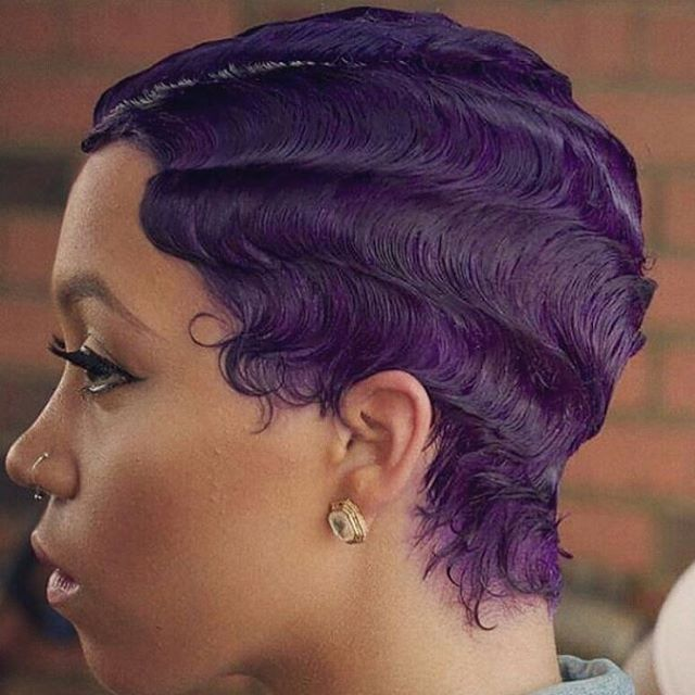 salonnoa | short hair, purple hair with finger waves, hairstyle, lavender hair, black girl with colored hair, colorful hair inspiration.