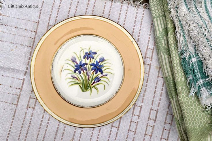 Antique Victorian Period Painted Blue Flowers&Yellow Rim Plate Retro Decorative Plate Retailed by Alfred B Pearce 39 Ludgate Hill, London by LittlemixAntique on Etsy