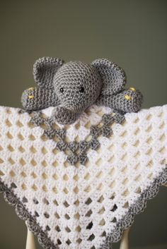 Grey and White Elephant Security Blanket Available on Etsy