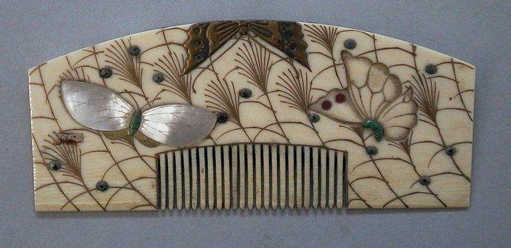 Peigne Papillons et herbes Susuki | Centre de documentation des musées - Les Arts Décoratifs