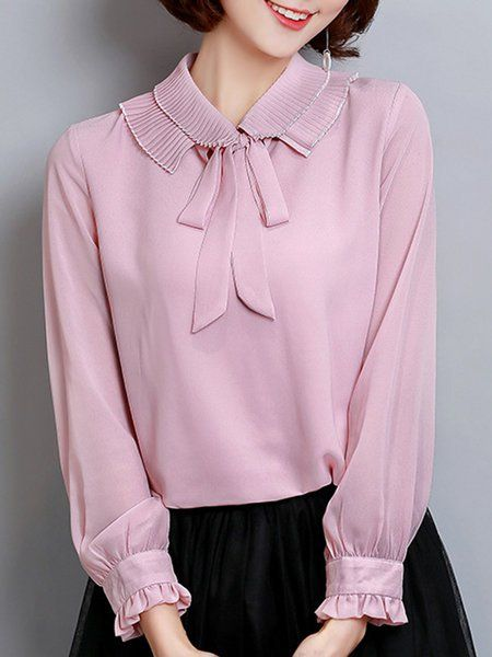 f9eb90f9e22b56 Chiffon Long Sleeve Tie-neck Girly Plus Size Blouse in 2019 | Pink Blouse |  Sleeves, Plus size blouses, Ruffle blouse