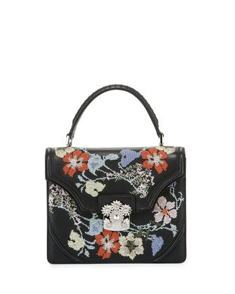 Small Floral Needlepoint Leather Satchel Bag, Black Multi by Alexander McQueen at Neiman Marcus.
