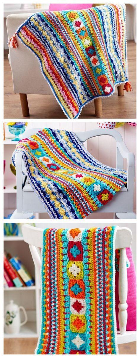 Free Sampler Blanket Crochet Pattern.