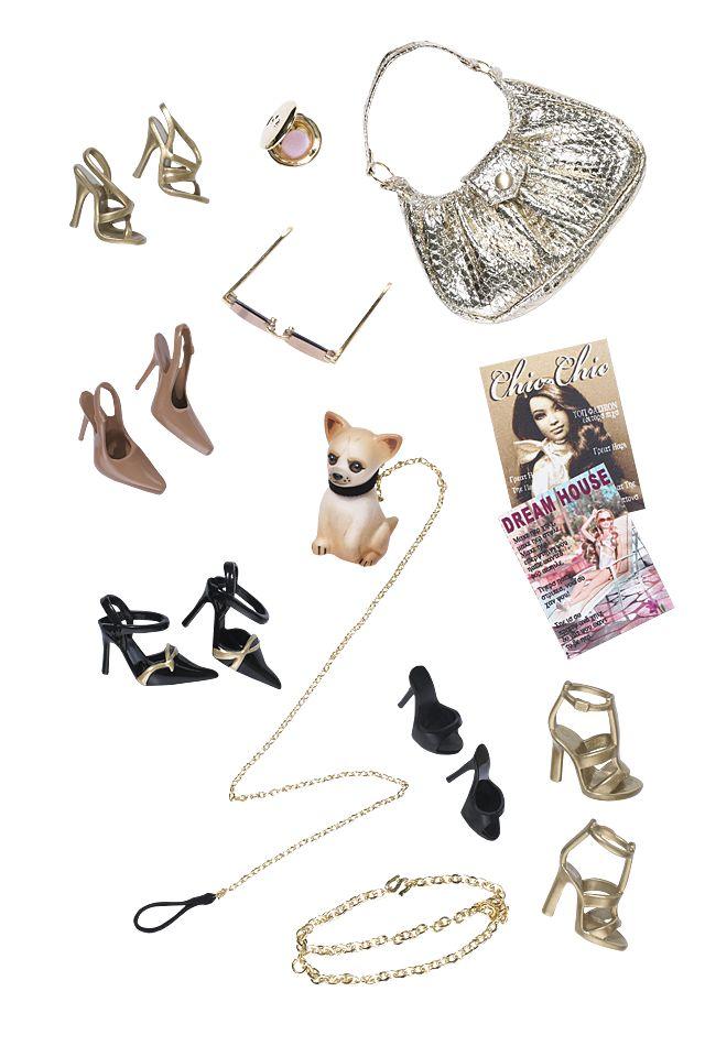 Barbie Magazines, shoes, handbag, shades and a doggie!  LOL