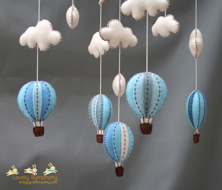 Blue and grey hot air balloons baby mobile