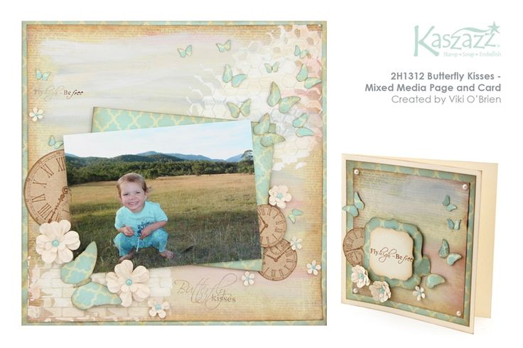 2H1312 Butterfly Kisses - Mixed Media Page and Card