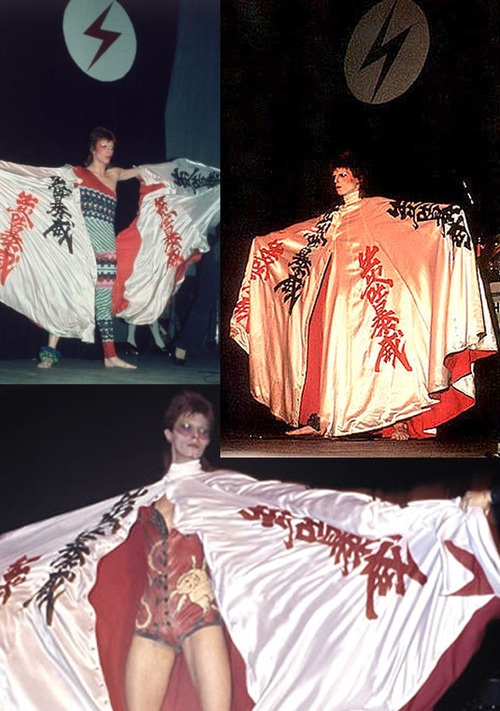 David Bowie (clothes of Kansai Yamamoto) - Kansai Yamamoto (山本寛斎?, born February 8, 1944) is one of the leaders in Japanese Contemporary fashion, in particular during the 1970s and 1980s.  He is also known for his avant-garde kimono designs, including ones worn by David Bowie in his Ziggy Stardust Tour.