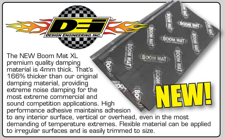 The NEW Boom Mat XL, Check it out!   Premium quality damping material is 4mm thick. That's 166% thicker than our original damping material, providing extreme noise damping for the most extreme commercial and sound competition applications. High performance adhesive maintains adhesion to any interior surface, vertical or overhead, even in the most demanding of temperature extremes. Flexible material can be applied to irregular surfaces and is easily trimmed to size. Call 905.643.7700 for the…
