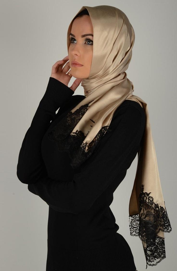 Tafta şal, Açık vizon rengi şal, dantelli şal, karacabutik, www.karacabutik.com, lace shawl, güpür şal, 2013 şal modası, 2013 tesettür modası