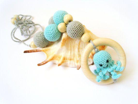 Nursing necklace Octopus ring toy Tiffany Blue Grey Breastfeeding Teething Crochet necklace Slinging mom Kawaii Animal - CHOOSE YOUR COLOR