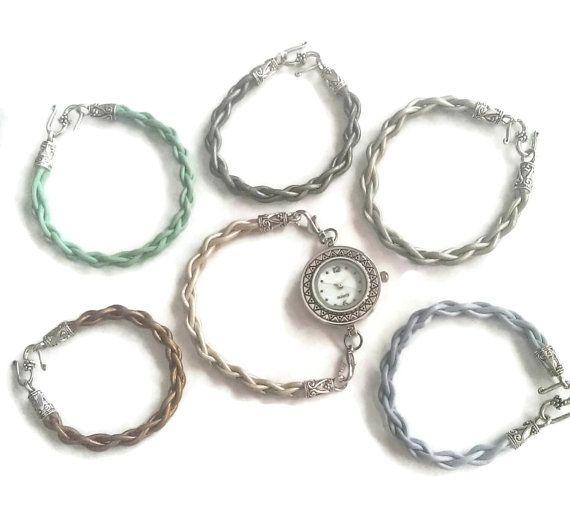 Round Leather assorted ladies watch and straps gift set, cream mint powder blue dark grey silver bronze ladies watch straps