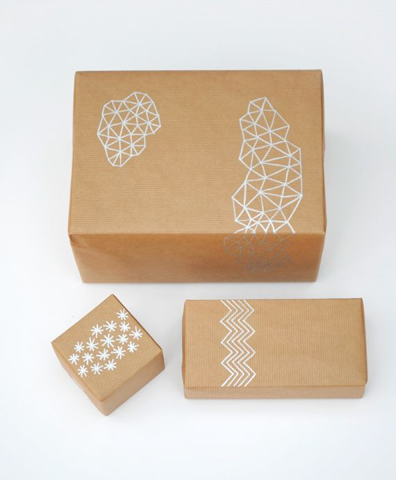 Brown paper + silver pen = nice giftwrap!  or bathroom walls.