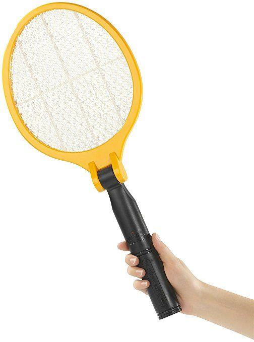 infactory Insektenvernichter: Elektrische Fliegenklatsche mit klappbarem Griff (Fliegenklatsche ohne Flecken)