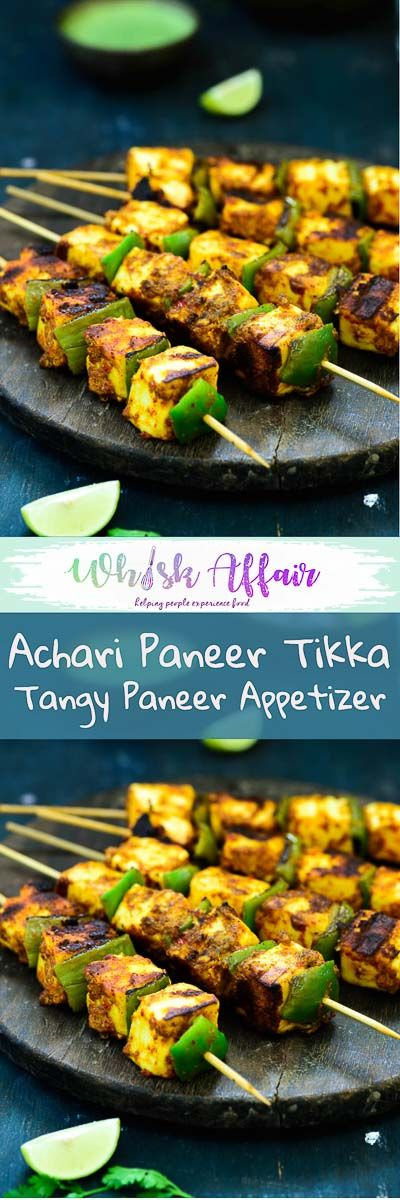 Achari Paneer tikka is a delicious starter made with paneer marinated in a Achari marinade. Here is a tried and tested recipe to make Achari Paneer Tikka. #Paneer Recipes #IndianRecipes #AppetizerRecipes via @WhiskAffair