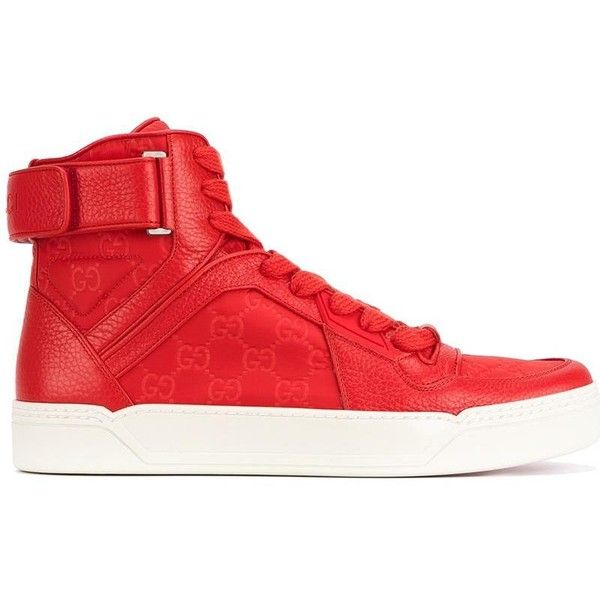Gucci high top sneakers ($695) ❤ liked on Polyvore featuring shoes, sneakers, embroidered sneakers, lace up sneakers, red trainers, red hi tops and red high top shoes