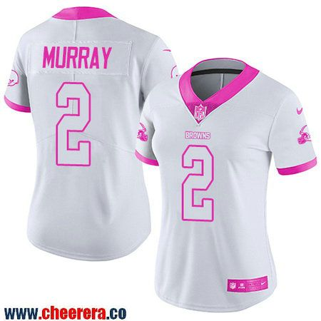 Women's Cleveland Browns #2 Patrick Murray White Pink 2016 Color Rush Fashion NFL Nike Limited Jersey